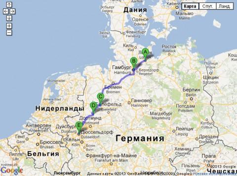 Поезд в Дюссельдорф из Любека на карте Гугла