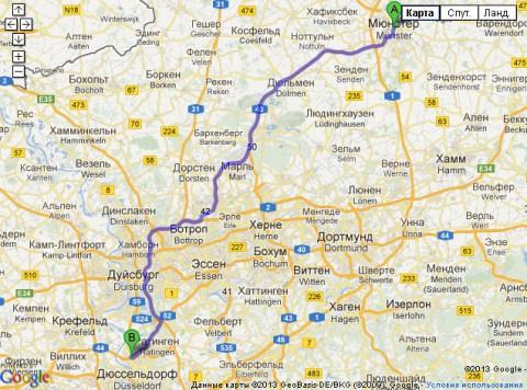 Поезд до Дюссельдорфа из Мюнстера
