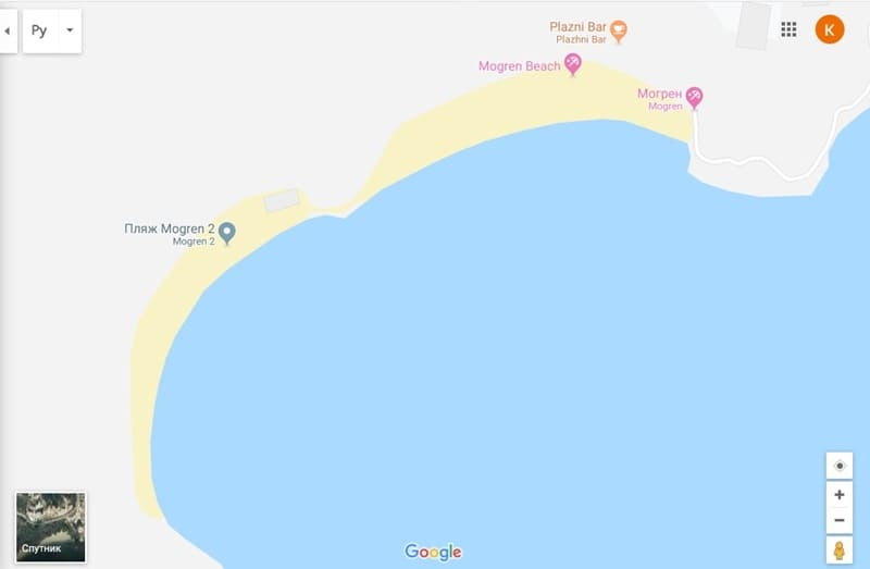 Пляж Могрен в Будве